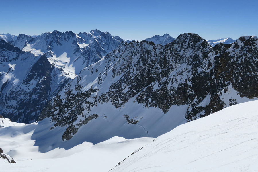 Skitour Rofelewand Pitztal Blick ins Totenkar