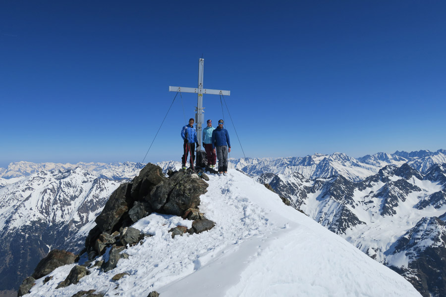 Skitour Rofelewand Pitztal Gipfelkreuz